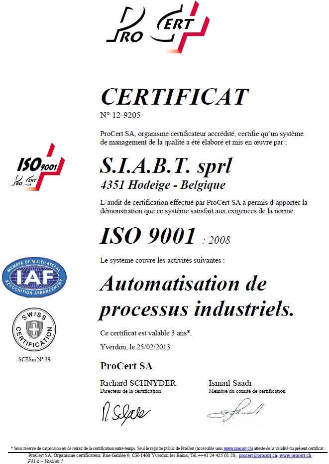 Cerificat ISO9001